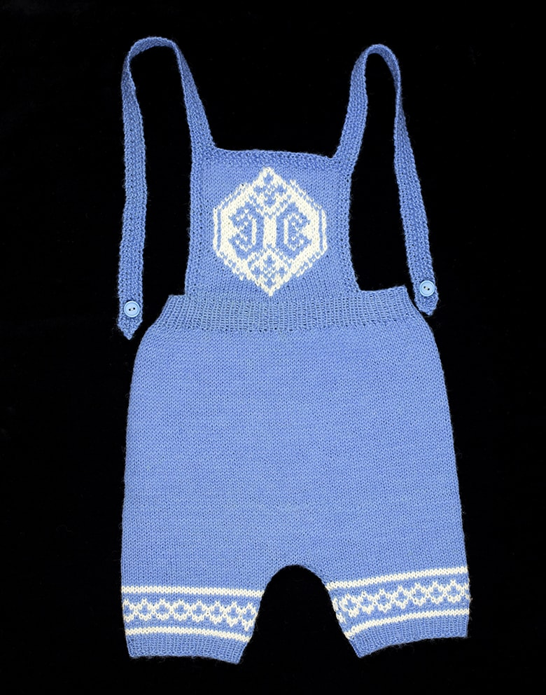 Child's dungarees hand knitwear design by Alice Starmore