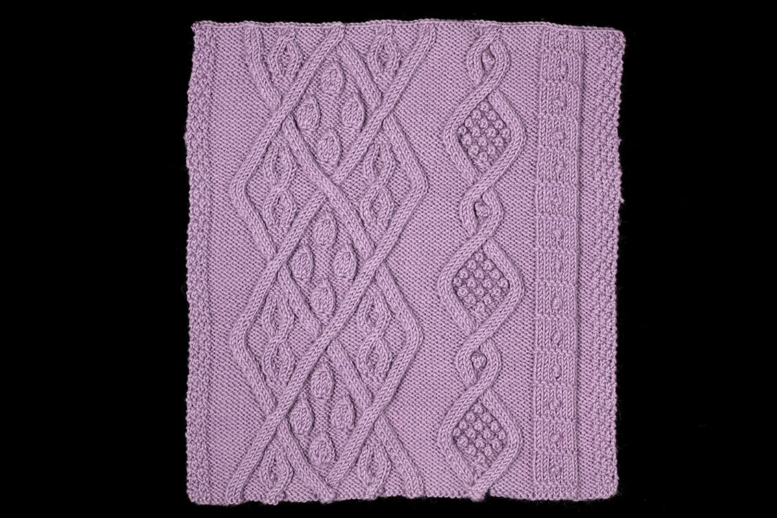 Texture hand knitwear swatch by Alice Starmore from the book Aran Knitting