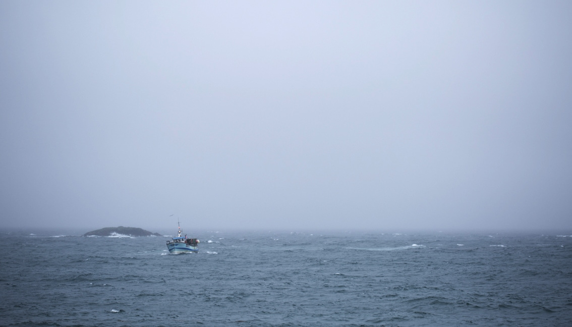 Fishing boat at sea off the Isle of Coll