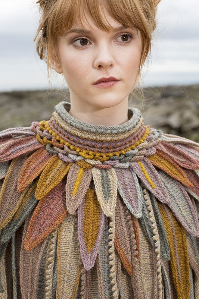 Large collar hand knitwear design by Alice Starmore from the book Glamourie