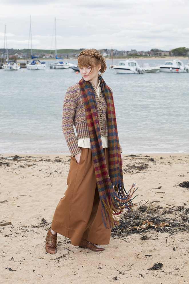 Hand knitwear and weaving design by Alice Starmore for Virtual Yarns