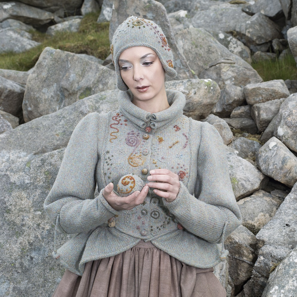 The Mountain Hare textile art costume by Alice Starmore from the book Glamourie