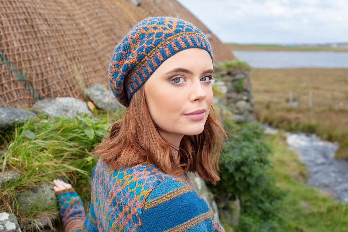 Damselfly hat set hand knitwear design by Alice Starmore for Virtual Yarns