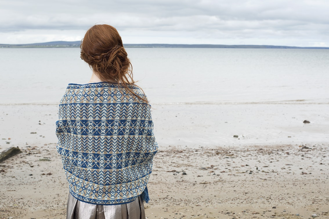 Ripple Wrap hand knitwear design by Alice Starmore for Virtual Yarns
