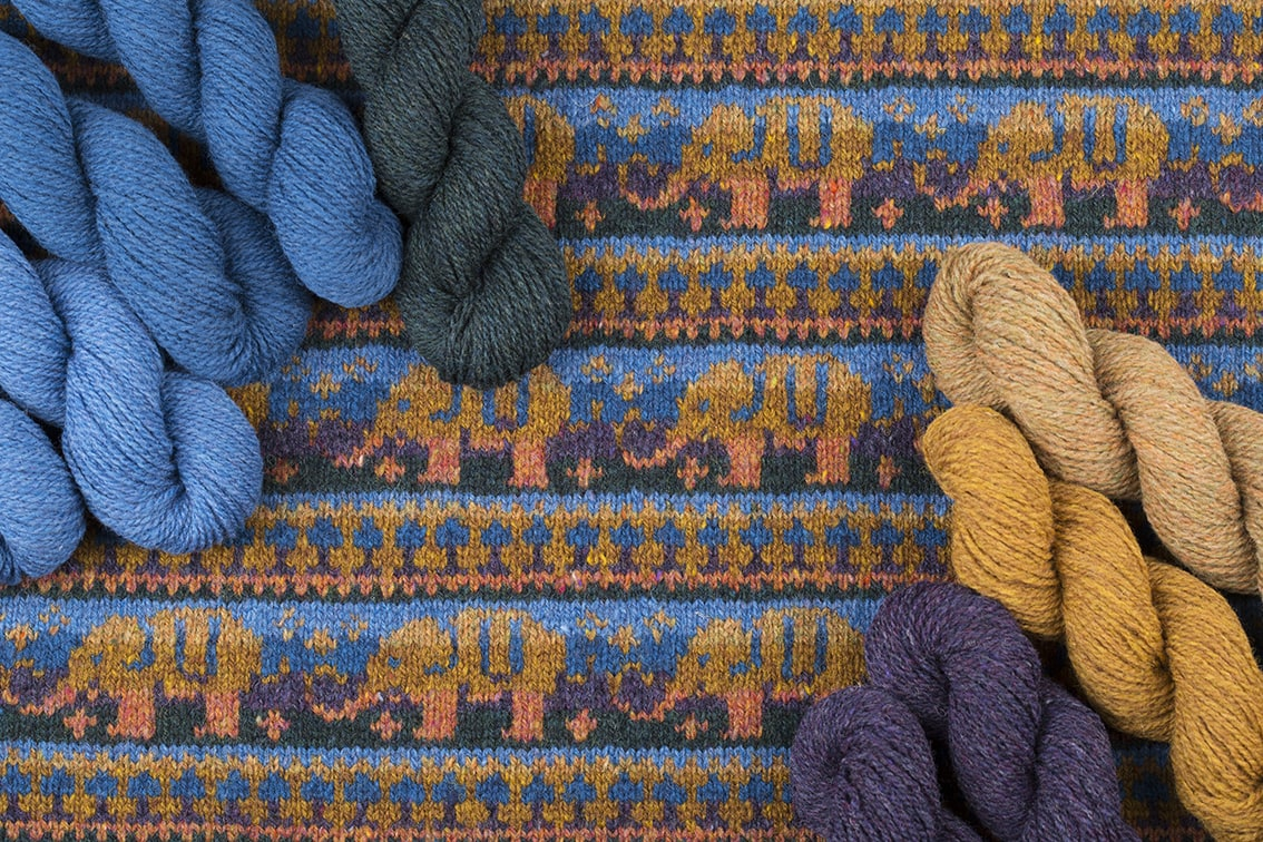 Elephants hand knitwear design by Alice Starmore for Virtual Yarns