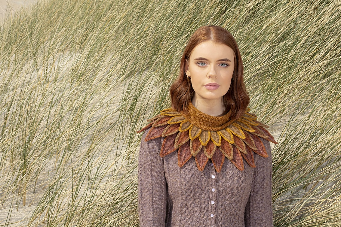 Eala Bhan and Raven collar hand knitwear designs by Alice Starmore for Virtual Yarns
