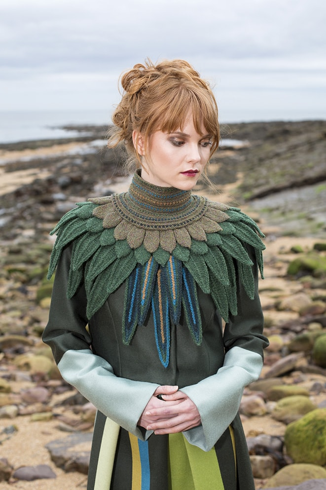 The Lapwing Collar hand knitwear design by Alice Starmore for Virtual Yarns