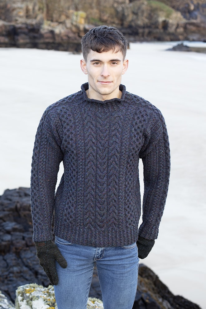 Na Craga hand knitwear design by Alice Starmore from the book Aran Knitting, modelled by Thomas Starmore