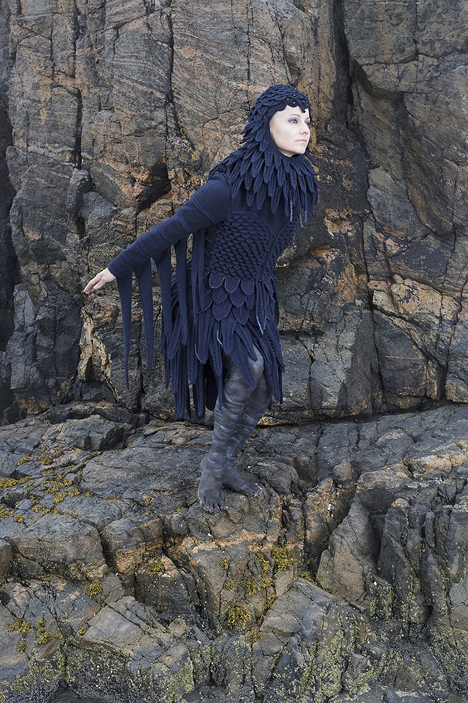 The Raven costume, textile art by Alice Starmore from the book Glamourie