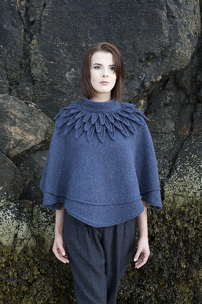 The Raven Poncho hand knitwear design by Alice Starmore from the book Glamourie
