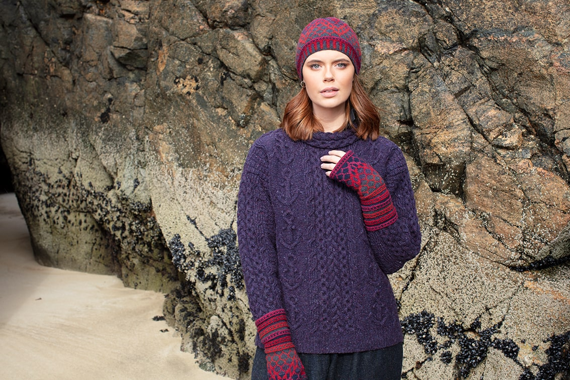 Mystic and Damselfly Hat Set hand knitwear designs by Alice Starmore for Virtual Yarns