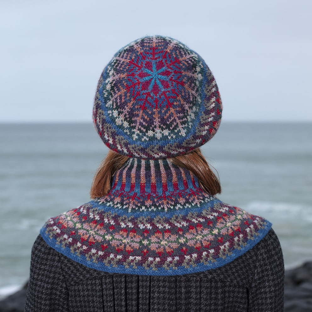 Hand Knitwear design Marina hat set by Alice Starmore in Virtual Yarns Hebridean Yarn