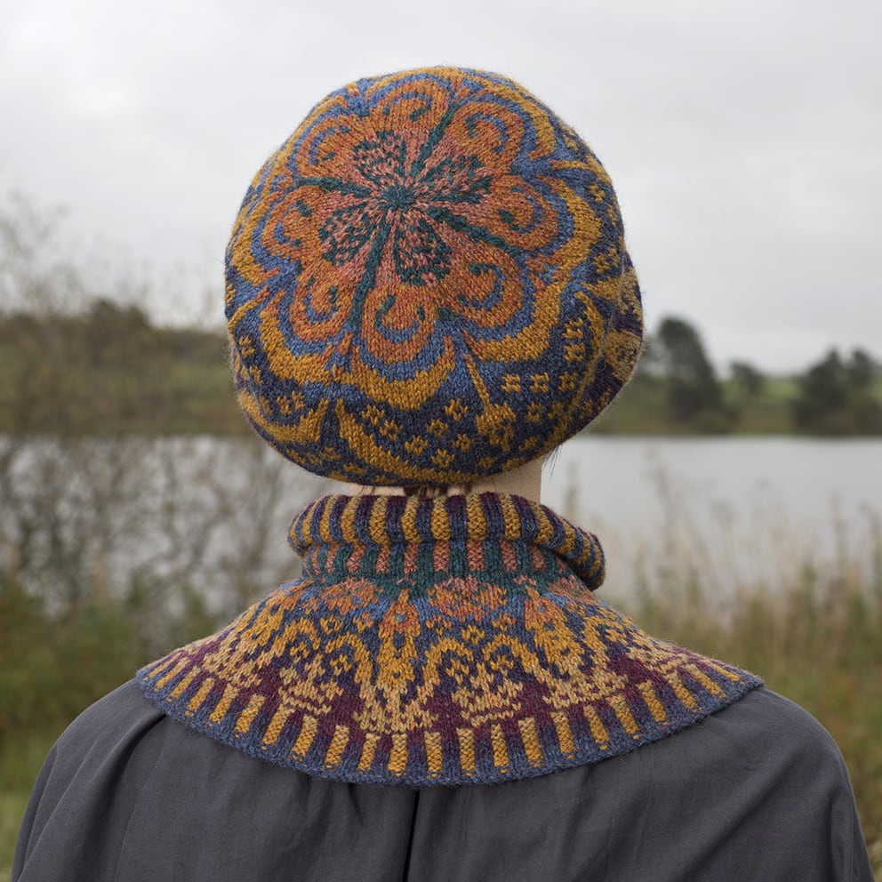 Hand Knitwear design Mary Tudor hat set by Alice Starmore in Virtual Yarns Hebridean Yarn