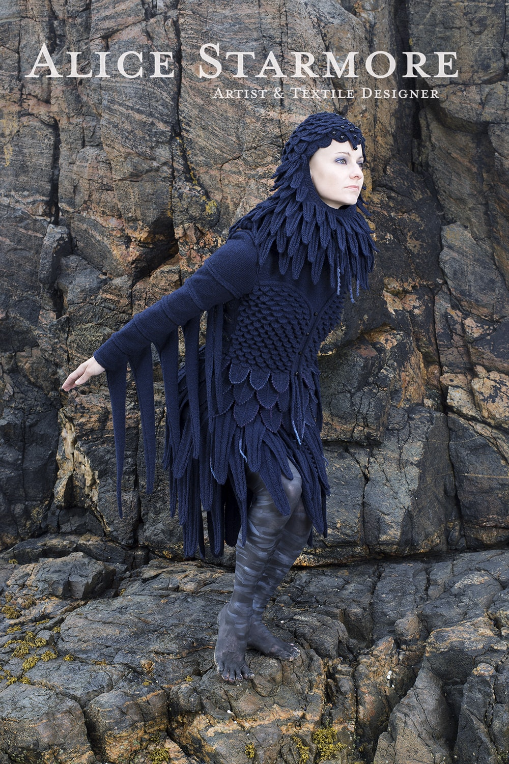 Raven costume textile art by Alice Starmore from the book Glamourie
