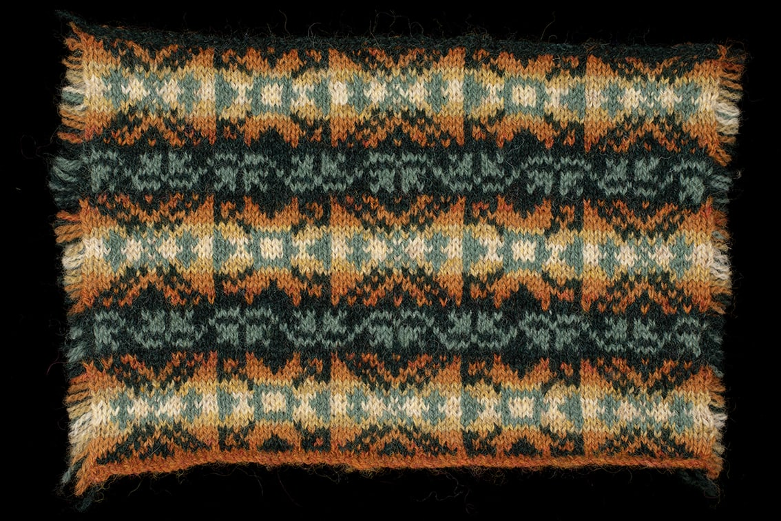 Hand Knitwear design swatch by Alice Starmore for the book Fair Isle Knitting
